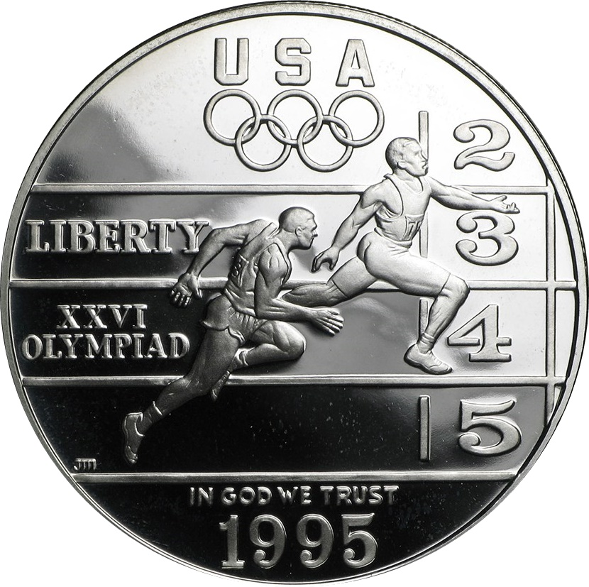 1995 Olympic Track and Field Silver Proof $1 (Capsule)