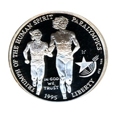 1995 Paralympics Blind Runner Silver Proof $1 (Capsule)