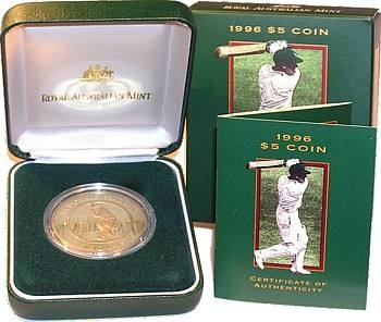1996 $5 Aluminium Bronze Proof Coin - 1996 Sir Donald Bradman