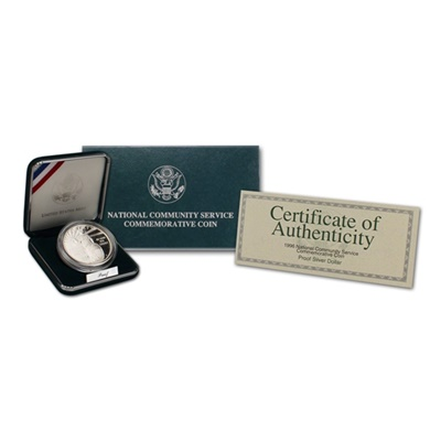 1996 National Community Service Silver Proof $1