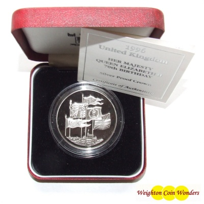 1996 Silver Proof £5 Crown – 70th Birthday QE II