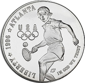 1996 Olympic Tennis Silver Proof $1 (Capsule)