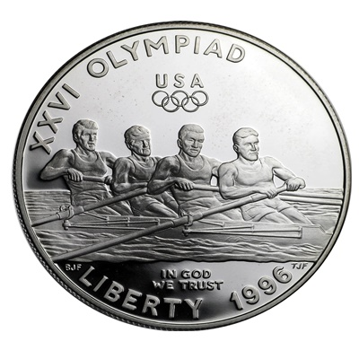 1996 Olympic Rowing Silver Proof USA $1 (Capsule)