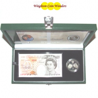 1997 £10 Note and Silver Proof £5 Set - Golden Wedding