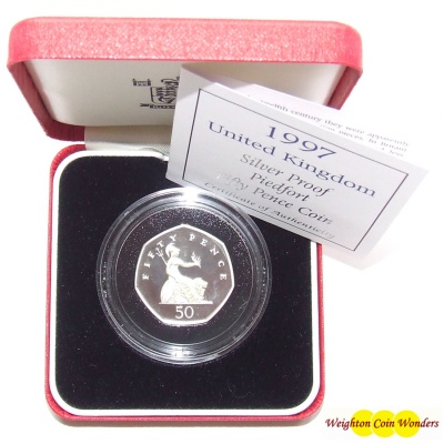 1997 Silver Proof PIEDFORT Fifty Pence Coin