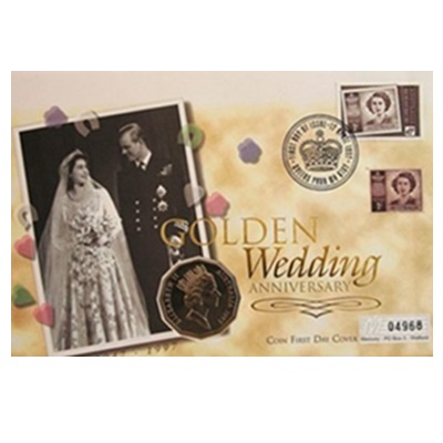 1997 Golden Wedding Anniversary HM QEII 50 Cent Coin