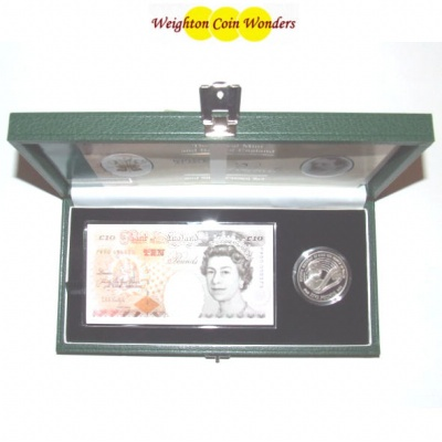 1998 £10 Note and Silver Proof £5 Set - Prince Charles 50th