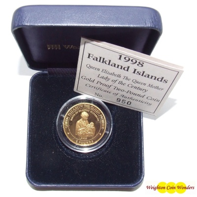 1998 Falkland Islands Gold Proof £2 Coin – Queen Mother