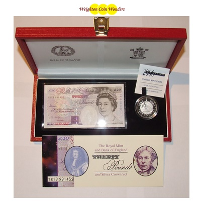 1999 £20 Note and Silver Proof Crown Set - Millennium