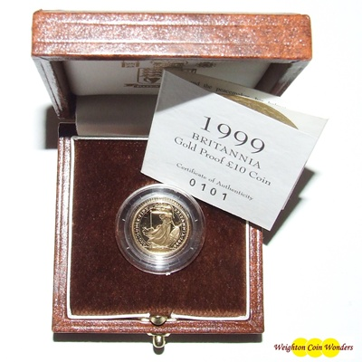 1999 Gold Proof 1/10th oz Britannia