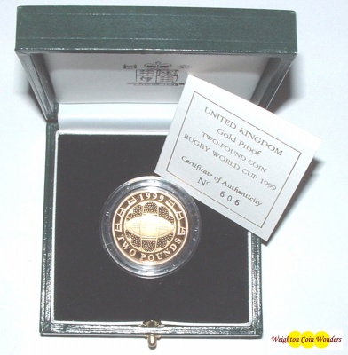 1999 Gold Proof £2 – Rugby World Cup