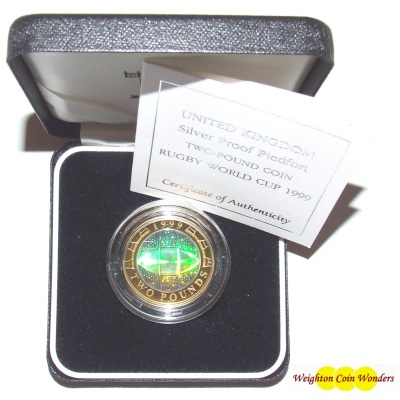 1999 Silver Proof PIEDFORT £2 (Hologram) - Rugby World Cup