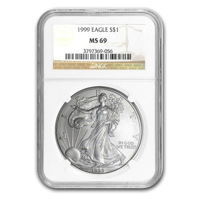1999 1oz USA Silver Eagle MS-69 NGC