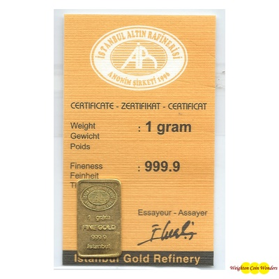 1g Gold Bar - Istanbul Refinery