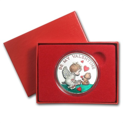 1oz Silver Round Coloured - Valentines - Boxed Gift