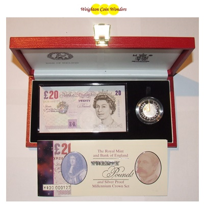 2000 £20 Note and Silver Proof Crown Set - Millennium