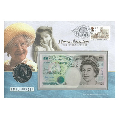 2000 £5 Note and Five Pound Coin - Queen Mother 100th