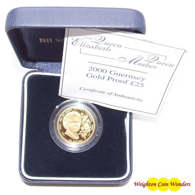 2000 Guernsey Gold Proof £25 Coin – Queen Mother
