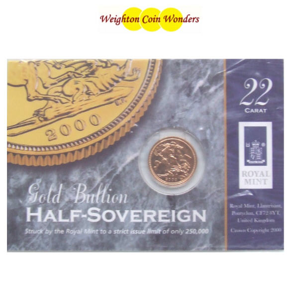 2000 QE II Gold ½ Sovereign - RM Display Card