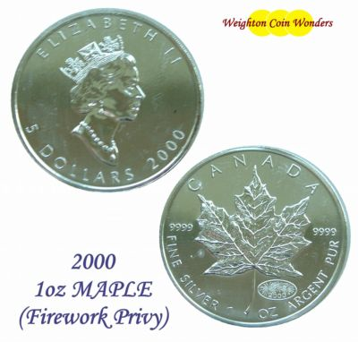 2000 1oz Silver Maple - Fireworks Privy Mark