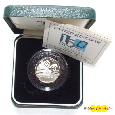 2000 Silver Proof 50p - 150 Years of Public Libraries - Click Image to Close