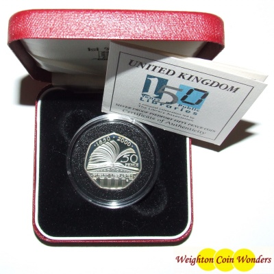 2000 Silver Proof PIEDFORT 50p - 150 Years of Public Libraries