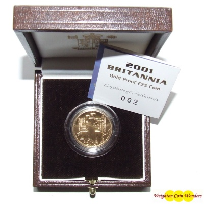 2001 Gold Proof 1/4 oz Britannia
