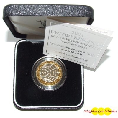 2001 Silver Proof PIEDFORT £2 - Marconi Commemorative