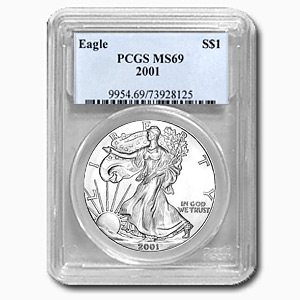 2001 1 oz USA Silver Eagle MS-69 PCGS