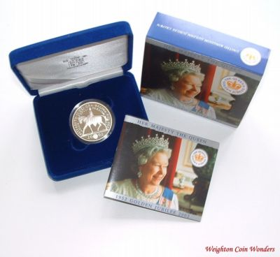 2002 Silver Proof £5 Crown – QE II Golden Jubilee