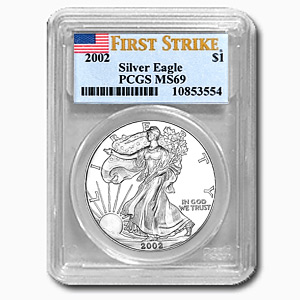 2002 1 oz USA Silver Eagle MS-69 PCGS (First Strike)