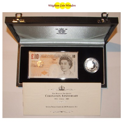 2003 £10 Note and Silver Proof Crown - Coronation Anniversary