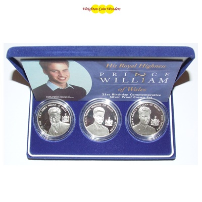 2003 Silver Proof 3-Coin Set - Prince William 21st Birthday