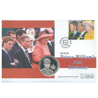 2003 Silver Proof £5 - HRH Prince William 21st Birthday