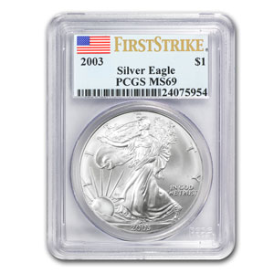 2003 1 oz USA Silver Eagle MS-69 PCGS (First Strike)