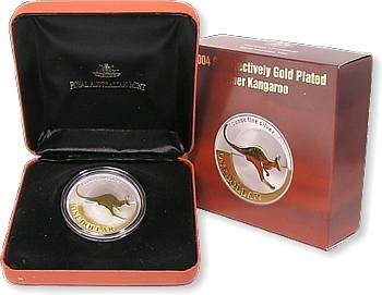 2004 1oz Silver Proof Selectively Gold Plated Kangaroo