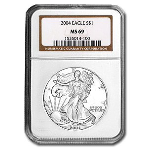 2004 1 oz USA Silver Eagle MS-69 NGC