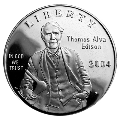 2004 Thomas Alva Edison Silver Proof $1 (Capsule) - Click Image to Close