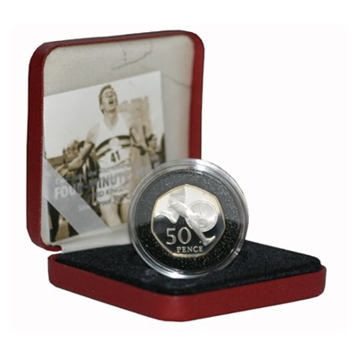 2004 Silver Proof PIEDFORT 50p - Roger Bannister