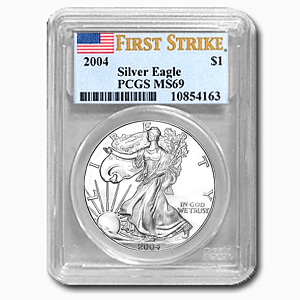 2004 1 oz USA Silver Eagle MS-69 PCGS (First Strike)