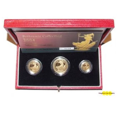 2004 UK Gold Proof BRITANNIA 3 Coin Set