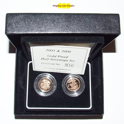 2005 & 2006 Gold Proof 1/2 Sovereign Set