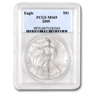 2005 1 oz USA Silver Eagle MS-69 PCGS