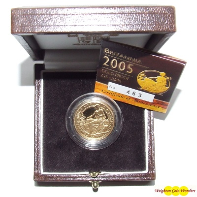 2005 Gold Proof 1/4 oz Britannia - New Design