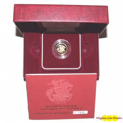 2005 Gold Proof 1/2 Sovereign – Modern St George & Dragon