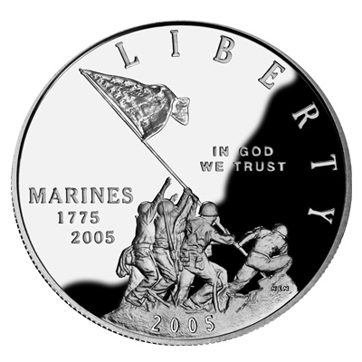 2005 Marine Corps Silver Proof $1 (Capsule) - Click Image to Close