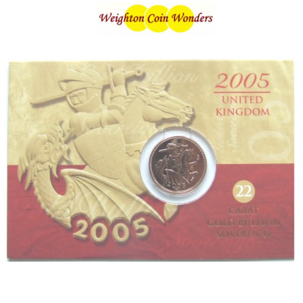 2005 QE II Gold Sovereign - RM Display Card