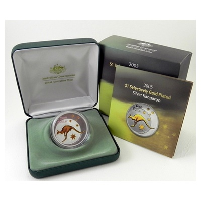 2005 1oz Silver Proof Selectively Gold Plated Kangaroo