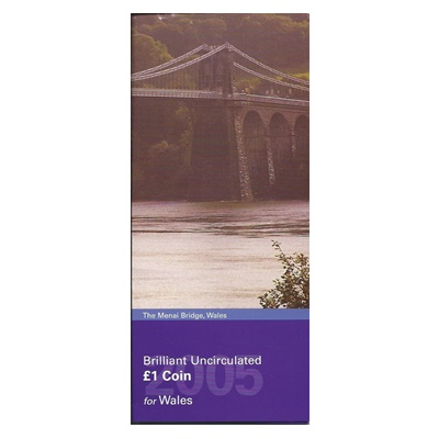 2005 BU £1 Coin for Wales - The Menai Bridge - Presentation Pack