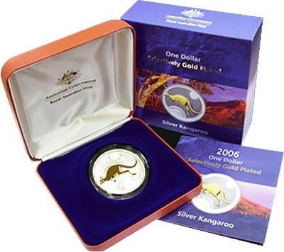 2006 1oz Silver Proof Selectively Gold Plated Kangaroo
